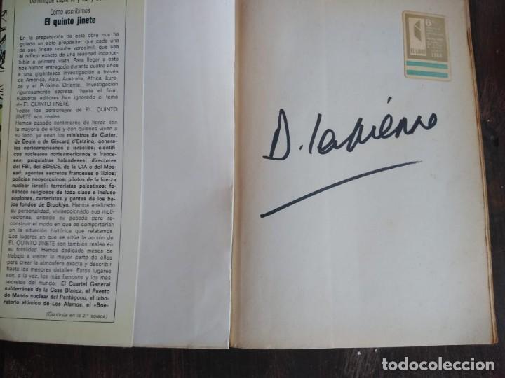 Libros de segunda mano: El quinto jinete libro firmado por su autor Dominique Lapierre - Foto 2 - 166801882