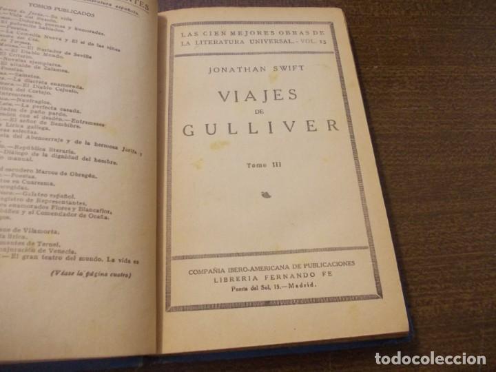 Libros de segunda mano: Viajes de Gulliver, tomo III. Jonathan Swift. Vo. 13 Cien Mejores obras Literatura Universal - Foto 2 - 171946177