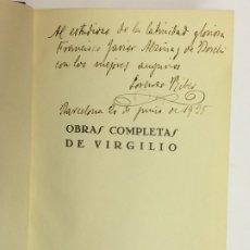 Libros de segunda mano: AÑO 1934 - OBRAS COMPLETAS DE VIRGILIO - EDITORIAL AGUILAR COLECCIÓN JOYA AUTÓGRAFO LORENZO RIBER 1ª. Lote 174245960
