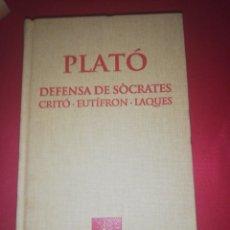 Libros de segunda mano: PLATO, DEFENSA DE SOCRATES , ESCRIPTORS GRECS, FUNDACIO BERNAT METGE . Lote 175298699