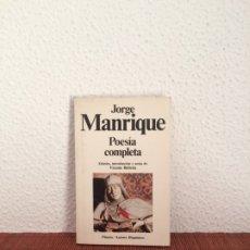 Libros de segunda mano: OBRAS COMPLETAS - JORGE MANRIQUE - ED. DE VICENTE BELTRÁN - PLANETA. Lote 178126554