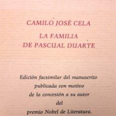 Libros de segunda mano: LA FAMILIA DE PASCUAL DUARTE - CAMILO JOSÉ CELA. Lote 181432401
