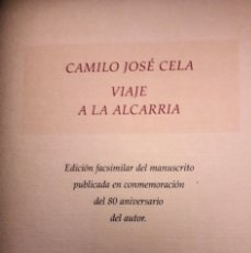 Libros de segunda mano: VIAJE A LA ALCARRIA - CAMILO JOSÉ CELA. Lote 181432606