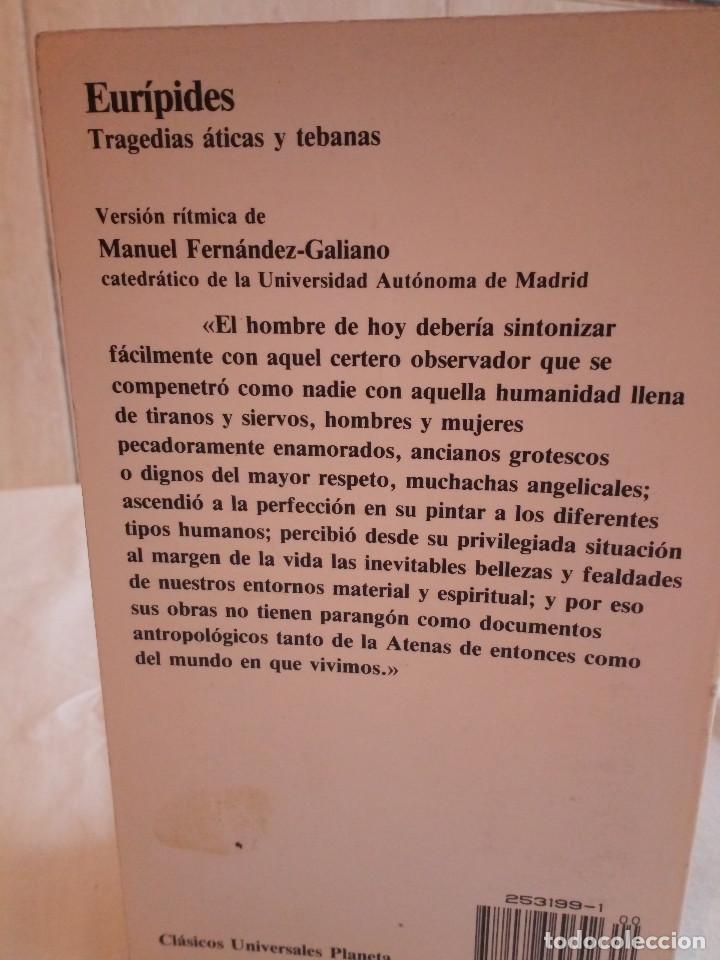 Libros de segunda mano: 226-EURIPIDES, Tragedias aticas y tebanas, 1991 - Foto 2 - 183625626
