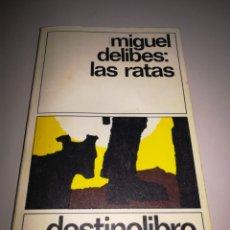 Libros de segunda mano: MIGUEL DELIBES: LAS RATAS. DESTINOLIBRO 8. EDITORIAL DESTINO. ABRIL 1987. REF. GAR 219. Lote 184765292