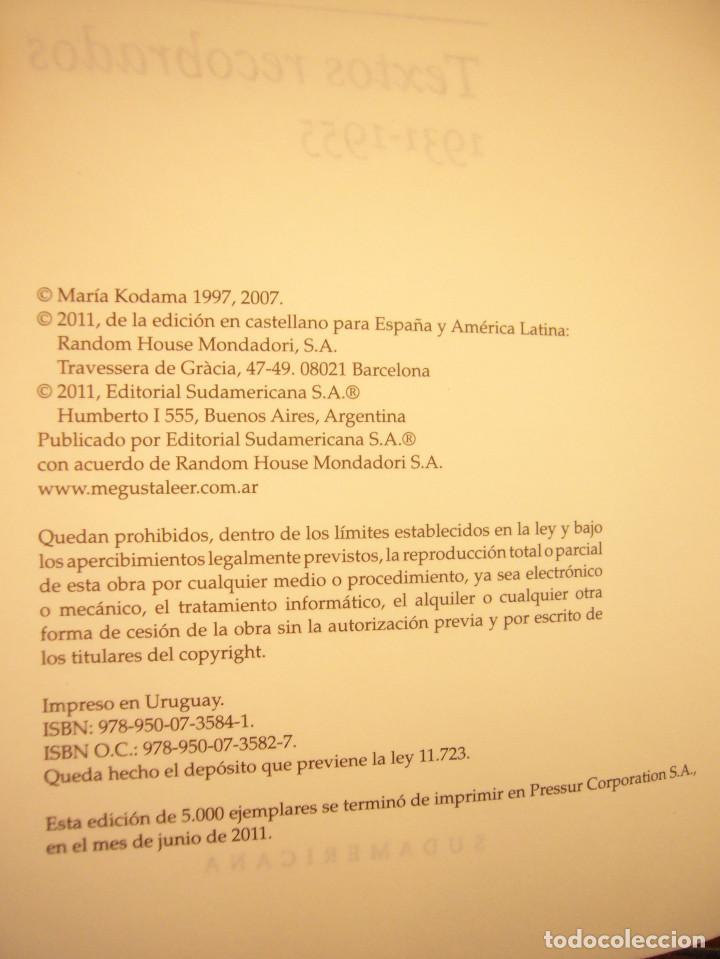 Libros de segunda mano: JORGE LUIS BORGES: TEXTOS RECOBRADOS 1931-1955 (SUDAMERICANA, 2011) TAPA DURA. PERFECTO. MUY RARO. - Foto 5 - 190613502