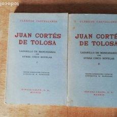 Libros de segunda mano: LAZARILLO DE MANZANARES CON OTRAS CINCO NOVELAS. JUAN CORTÉS DE TOLOSA. 2 VOL. ESPASA. Lote 191167038