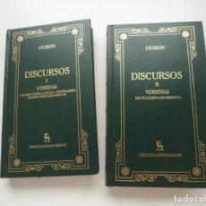Libros de segunda mano: CICERÓN. DISCURSOS I Y II. VERRINAS. BIBLIOTECA BÁSICA GREDOS NÚMEROS 46 Y 47. AÑO 2000. IMPECABLES. Lote 192689983