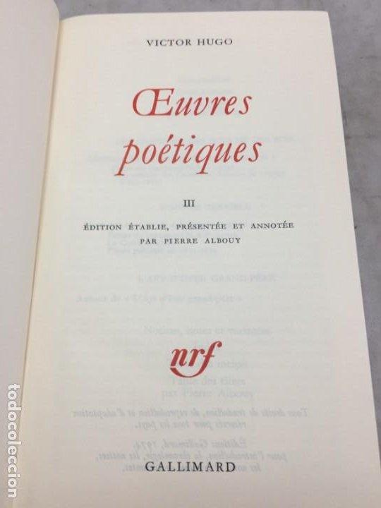 OEUVRES POETIQUES TOME III BIBLIOTHEQUE DE LA PLEIADE 1974 (Libros de Segunda Mano (posteriores a 1936) - Literatura - Narrativa - Clásicos)