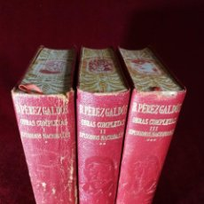 Libros de segunda mano: OBRAS COMPLETAS BENITO PÉREZ GALDÓS TOMOS I II III EPISODIOS NACIONALES COMPLETOS AGUILAR, 1950. Lote 194123595