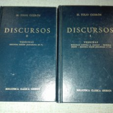 Libros de segunda mano: DISCURSOS. TOMO I Y II. VERRINAS. M TULIO CICERÓN. GREDOS. CLÁSICOS. 1990. Lote 194541733