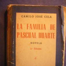 Libros de segunda mano: CAMILO JOSE CELA: - LA FAMILIA DE PASCUAL DUARTE - (MADRID, 1943) (2 ED) (DEDICATORIA DEL AUTOR). Lote 194597767