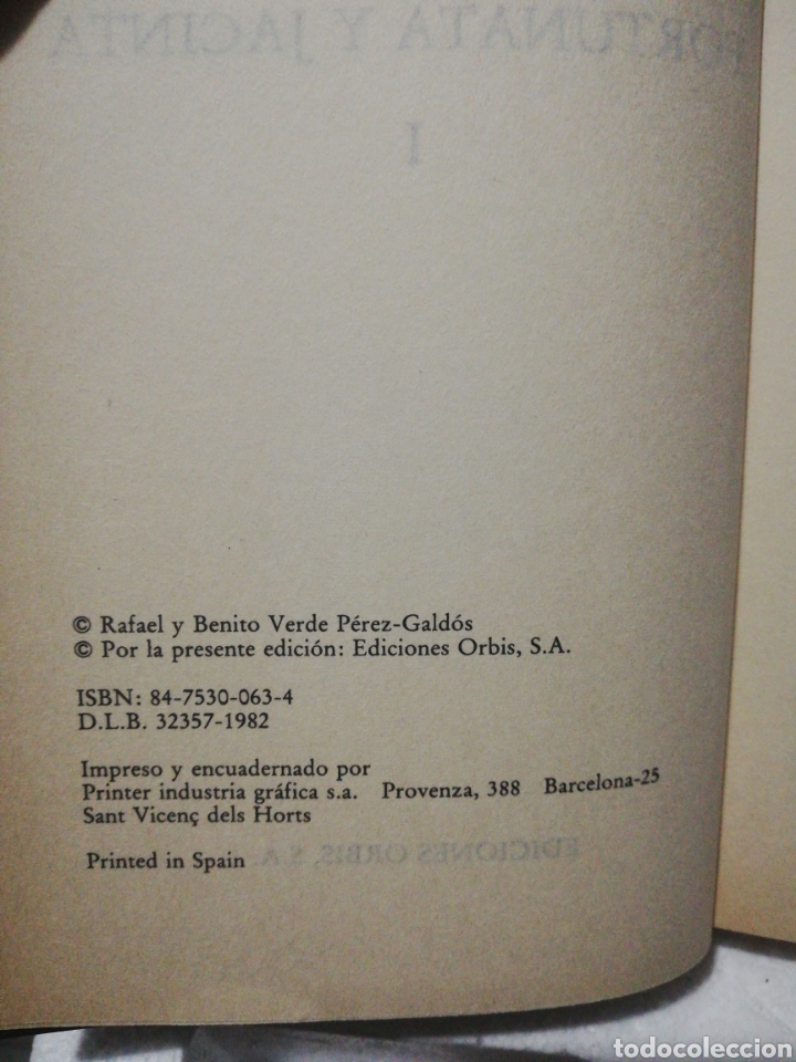 Libros de segunda mano: Fortunata y Jacinta I. Benito Pérez Galdós .Editorial Orbis - Foto 3 - 194893360