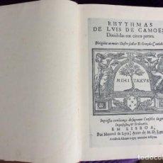 Libros de segunda mano: RIMAS DE LUÍS DE CAMÕES DIVIDIDAS EM CINCO PARTES ... FACSIMILE CON FECHA DE 1968. Lote 197835627