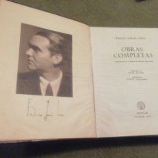 Libros de segunda mano: FEDERICO GARCÍA LORCA. OBRAS COMPLETAS. EDICIÓN 1957. ÓPTIMO ESTADO.. Lote 204690863