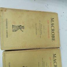 Livres d'occasion: MACROBE. LES SATURN ALES. I Y II. LATIN Y FRANCÉS. CLASSIQUES GARNIER. Lote 208951328