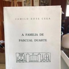 Libros de segunda mano: A FAMILIA DE PASCUAL DUARTE, CAMILO XOSÉ CELA. Lote 210565045