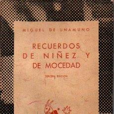 Libros de segunda mano: AUSTRAL Nº 323 : MIGUEL DE UNAMUNO - RECUERDOS DE NIÑEZ Y DE MOCEDAD (1946). Lote 212631311