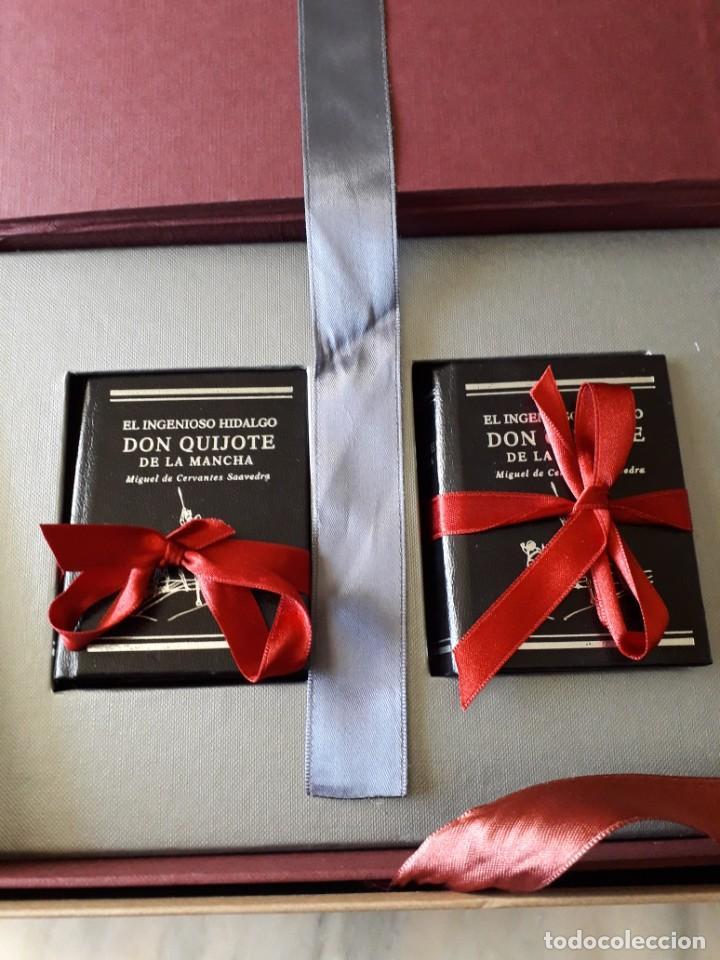 Libros de segunda mano: El Quijote, 2 tomos, edición conmemorativa de lujo en miniatura, Il. Ciro Oduber - Foto 3 - 213697692