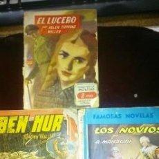 Libros de segunda mano: 3 NOVELAS ANTIGUAS. EL LUCERO-BEN HUR-LOS NOVIOS.. Lote 217994152