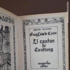 Libros de segunda mano: EL CANTAR DE LOS CANTARES - FRAY LUIS DE LEÓN - M. AGUILAR EDITOR - 1940. Lote 218117338