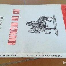 Libros de segunda mano: ROMANCERO DEL CID - ANONIMO - 53 100 CLASICOS UNIVERSALES PUEYO ZZ106. Lote 218248490