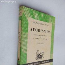 Libros de segunda mano: AFORISMOS. LEONARDO DA VINCI. COLECCIÓN AUSTRAL Nº 353. ESPASA-CALPE. TDK518. Lote 218544536