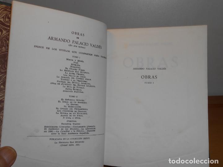 Libros de segunda mano: Excelente encuadernación artesanal · ARMANDO PALACIO VALDÉS , OBRAS 1º de 2, AGUILAR 1956,6ª edición - Foto 4 - 219817606