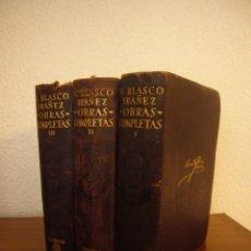 Libros de segunda mano: BLASCO IBÁÑEZ: OBRAS COMPLETAS I, II Y III (AGUILAR, 1949) PLENA PIEL Y CORTES DECORADOS. Lote 235557790