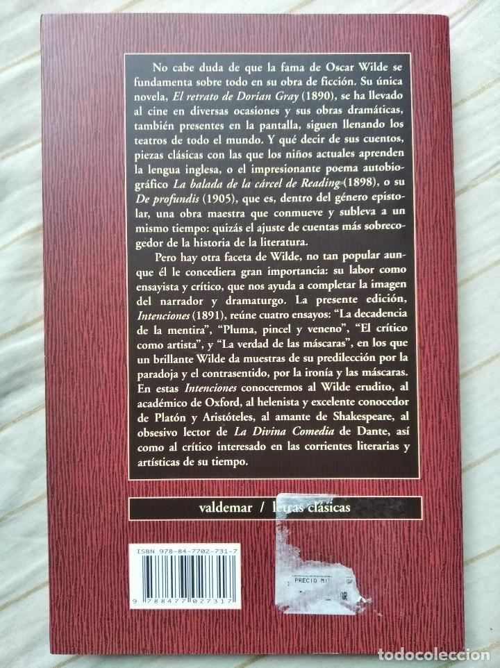 Libros de segunda mano: Intenciones - Oscar Wilde (Valdemar) - Foto 2 - 236383450