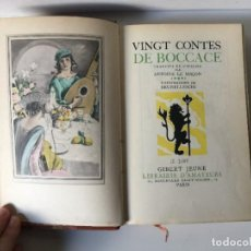 Libros de segunda mano: VINGT CONTES DE BOCCACE, ANTOINE LE MAÇON, BRUNELLESCHI, 1940, GIBERT JEUNE, PARIS. 20,5X14CM. Lote 237274420