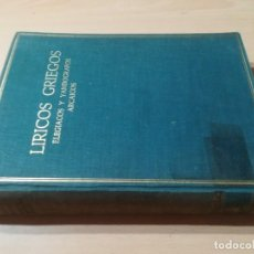 Libros de segunda mano: LIRICOS GRIEGOS VOL I/ ELEGIACOS Y YAMBOGRAFOS ARCAICOS / ADRADOS - ALMA MATER / CJA140. Lote 243631050