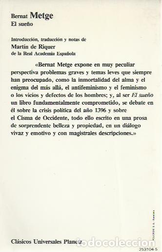 Libros de segunda mano: Bernat Metge-El sueño.Clásicos universales Planeta,104.1985. - Foto 2 - 244523760