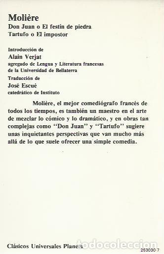 Libros de segunda mano: Molière -Don Juan Tartufo.Clásicos universales Planeta,30.1984. - Foto 2 - 244524685