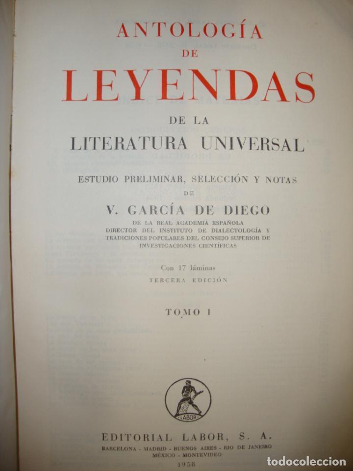 Libros de segunda mano: ANTOLOGÍA DE LEYENDAS - V. GARCÍA DE DIEGO - LABOR, PLENA PIEL, 1958 - Foto 4 - 244946840