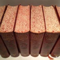 Libros de segunda mano: OBRAS COMPLETAS - 6 TOMOS - DICKENS - AGUILAR - 1950-52 - CANTOS DECORADOS - PLENA PIEL. Lote 246208195