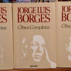 Libros de segunda mano: OBRAS COMPLETAS - JORGE LUIS BORGES - 3 TOMOS - EMECE - CON ESTUCHE. Lote 251039390