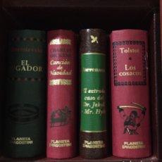 Libros de segunda mano: MINI LIBROS 46 GRANDES OBRAS DE LITERATURA Y MUEBLE DE REGALO. Lote 257926825