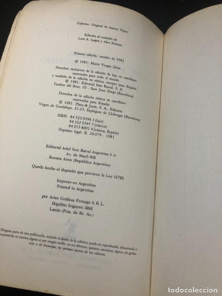 Libros de segunda mano: La guerra del fin del mundo Mario Vargas Llosa, Seix Barral 1981 1ª edición. - Foto 4 - 261364405