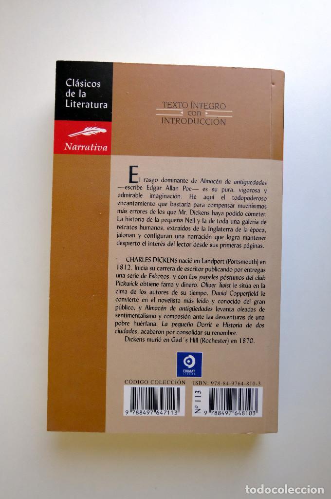 Libros de segunda mano: ALMACÉN DE ANTIGÜEDADES. CHARLES DICKENS - EDIMAT - Foto 2 - 263034470