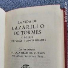 Libros de segunda mano: CRISOLIN Nº10: LA VIDA DE LAZARILLO DE TORMES Y DE SUS FORTUNAS Y ADVERSIDADES 1956. Lote 263588210