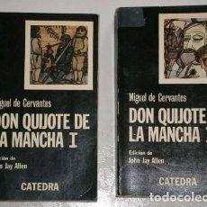Libros de segunda mano: DON QUIJOTE DE LA MANCHA 2T POR MIGUEL DE CERVANTES DE ED. CÁTEDRA EN MADRID 1977. Lote 263950795
