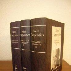 Libros de segunda mano: ALEJO CARPENTIER: NARRATIVA COMPLETA I, II Y III (RBA-INSTITUTO CERVANTES, 2005) EXCELENTE ESTADO. Lote 264844384