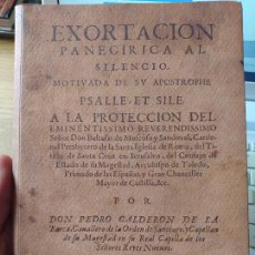 Libros de segunda mano: EXORTACION PANEGIRICA AL SILENCIO, HOMENAJE A CALDERON DE LA BARCA, MIN. EDUCACION, 2000 RARO. Lote 266080738
