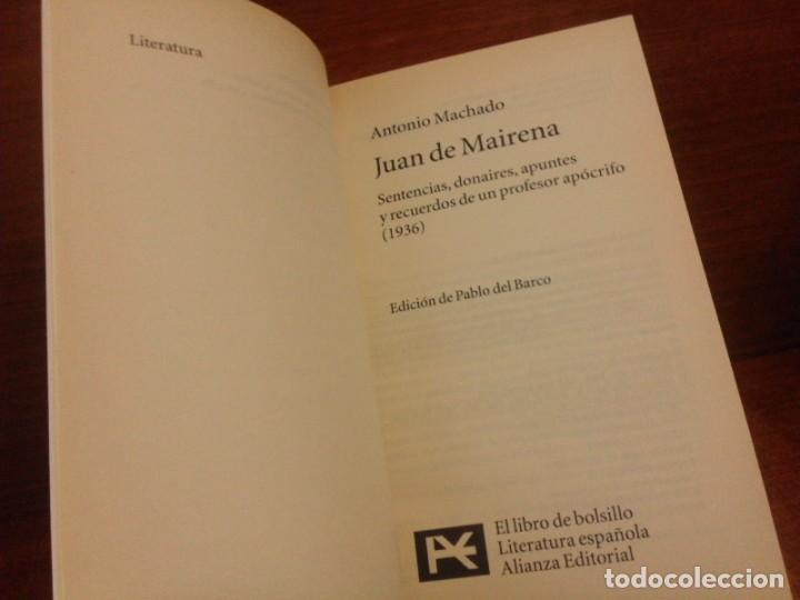 Libros de segunda mano: Antonio Machado - Juan de Mairena: Sentencias, donaires, apuntes y recuerdos - Alianza 2004 (1ª Ed.) - Foto 7 - 277090873