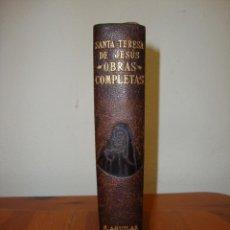 Libros de segunda mano: OBRAS COMPLETAS - SANTA TERESA DE JESÚS - AGUILAR, PIEL, CORTES DECORADOS. Lote 278849118