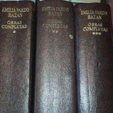 Libros de segunda mano: EMILIA PARDO BAZÁN. OBRAS COMPLETAS. TOMOS I, II Y III. 1973. ENCUADERNACIÓN PIEL. PESO 1600 GR.. Lote 285369053