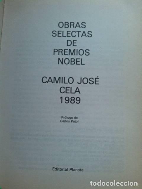 Libros de segunda mano: Camilo José Cela. Obras selectas de premios nobel. Editorial Planeta. 1989. - Foto 2 - 289764988