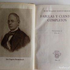 Libros de segunda mano: LIBRERIA GHOTICA. JUAN EUGENIO HARTZENBUSCH. FABULAS Y CUENTOS COMPLETOS.AGUILAR 1944.CRISOL 65. Lote 294099918