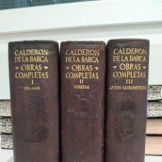 Libros de segunda mano: CALDERON DE LA BARCA. OBRAS COMPLETAS. 3 TOMOS. AGUILAR.. Lote 295346348
